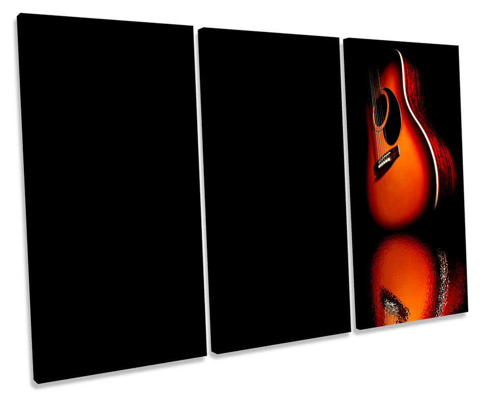 Guitar Musical Instrument TREBLE CANVAS WALL ART Box Framed Picture