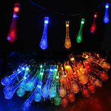 Waterproof Crystal Water Drop LED String Light  Xmas Solar Fairy Light Outdoor