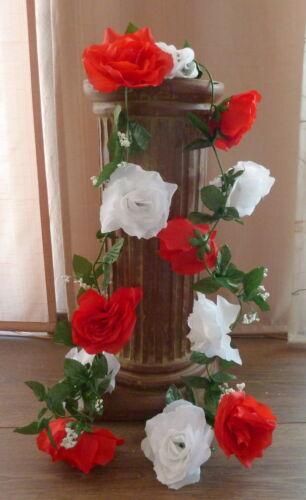 12 cm Kunstblumen Rosengirlande rot//weiß ca.250 cm  Blüte ca