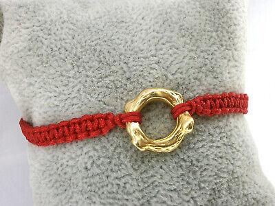 """Pulsera /""""Abril/""""  charm karma en plata tibetana con hilo rojo"""
