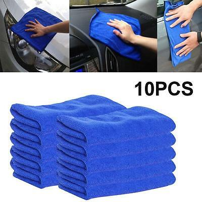 10Pcs Blue Microfiber Cleaning Auto Car Detailing Soft Cloths Wash Towel Duster