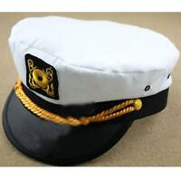 Unisex Yacht Boat Captain Hat Navy Cap Sailor Adults Costume Fancy Dress White