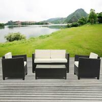 Ikayaa 4pcs Rattan Patio Sofa Table Set Garden Furniture Reconfigurable Sofa Set on sale