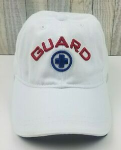 New-LIFE-GUARD-Embroidered-Logo-Adjustable-Strapback-White-Baseball-Hat-Cap-NWT