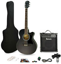 """COLUMBUS 40"""" SATIN BLACK ELECTRO ACOUSTIC GUITAR and 20W bluetooth amp package"""