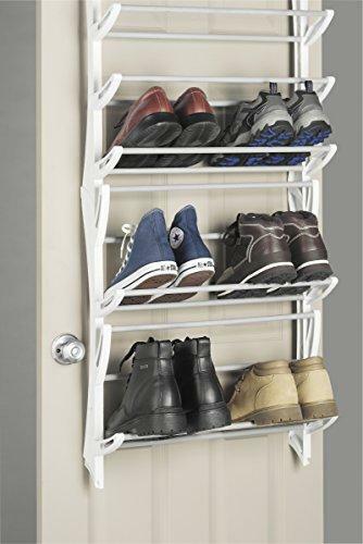 36 Pair Fold Up Whitmor Over the Door Shoe Rack Nonslip Bars