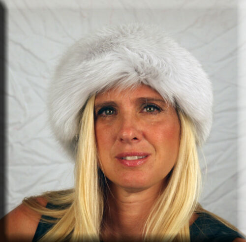 New Light Grey Fox Fur Headband 26 Inches Long and 5 Inches Wide