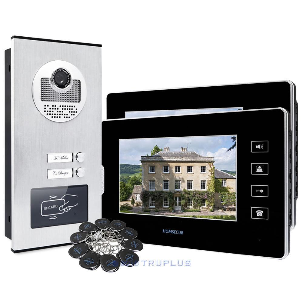 HOMSECUR 7  Vídeo Timbre Con IR Cámara HD Cerradura Eléctrica Compatible para 2 Pisos