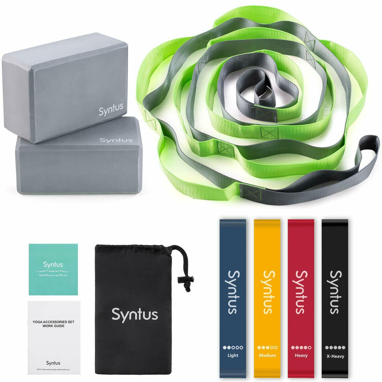 Syntus 9-in-1 Yoga Set, 1 Yoga Strap with 12 Loops, 2 EVA