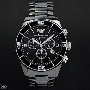 Emporio-Armani-Ceramica-Reloj-De-Hombre-ar1421-cronografo-negro