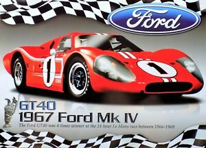 PLAQUE-metal-vintage-FORD-GT-40-MK-IV-1967-LE-MANS-40-X-30-CM