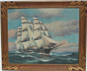 Antique-T-BAILEY-Original-Oil-Painting-on-canvas-Ship-on-the-Ocean-Framed