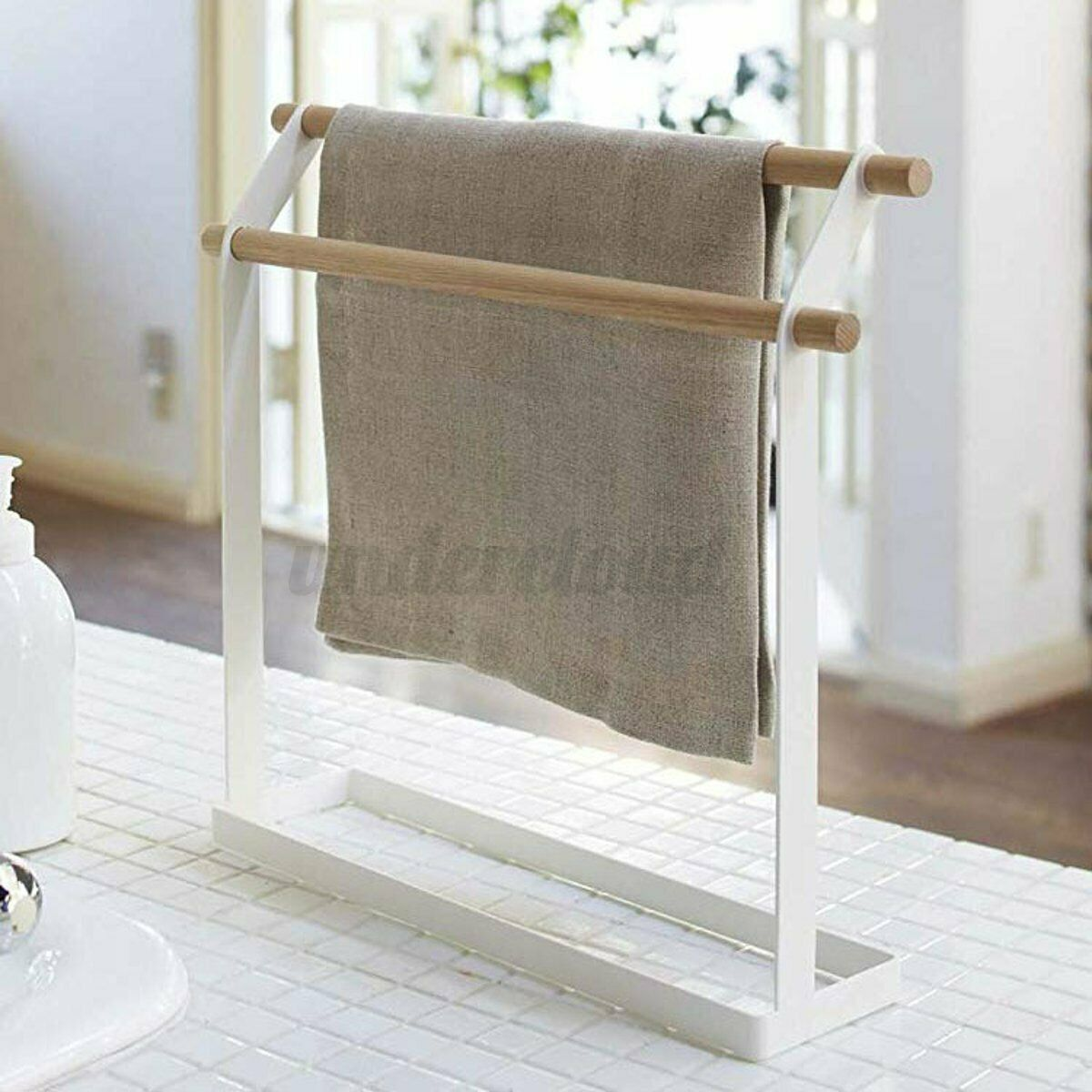 Picture of: T Shaped Towel Stand Standing Holder Countertop Bathroom Rack Double For Sale Online Ebay
