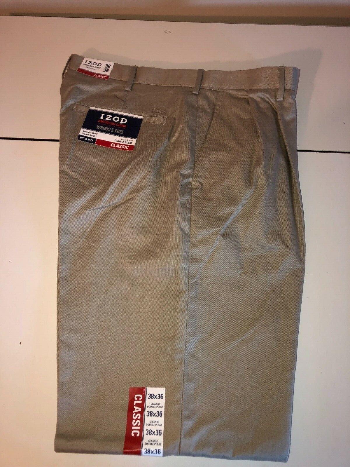 Men/'s Izod Khaki Chino Double Pleat Pants 40x36 38x36 New NWT MSRP $75