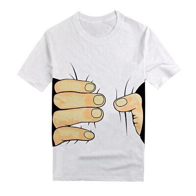 Homme T-Shirt 3D Grand Main Imprimé Manche Court Col Rond Casual Sport Été Mode