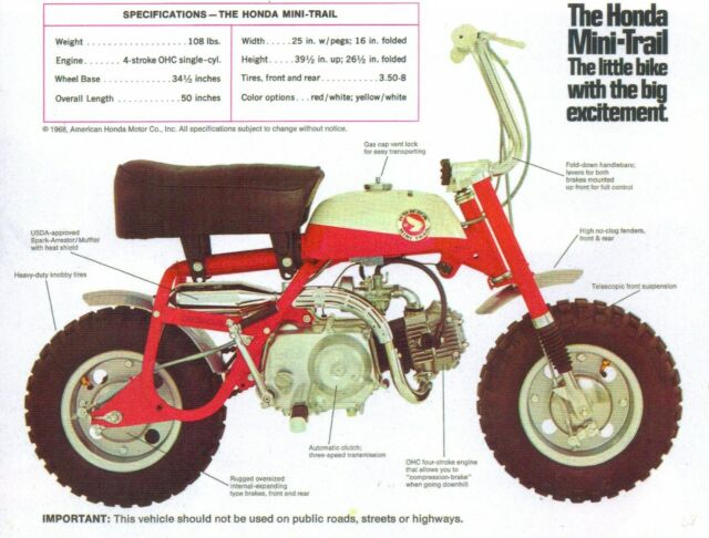1968 HONDA MINI TRAIL Z50 SPECS SALES AD  VINTAGE MINI BIKE MINICYCLE