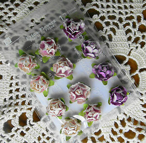 CAMEO-Rose-HEATHER-LAVENDER-20mm-x-9-Mixed-colour-Flowers-PAPER-Prima