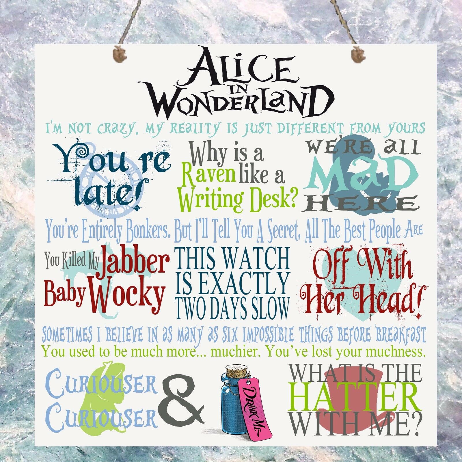The film Alice in Wonderland. Quotations