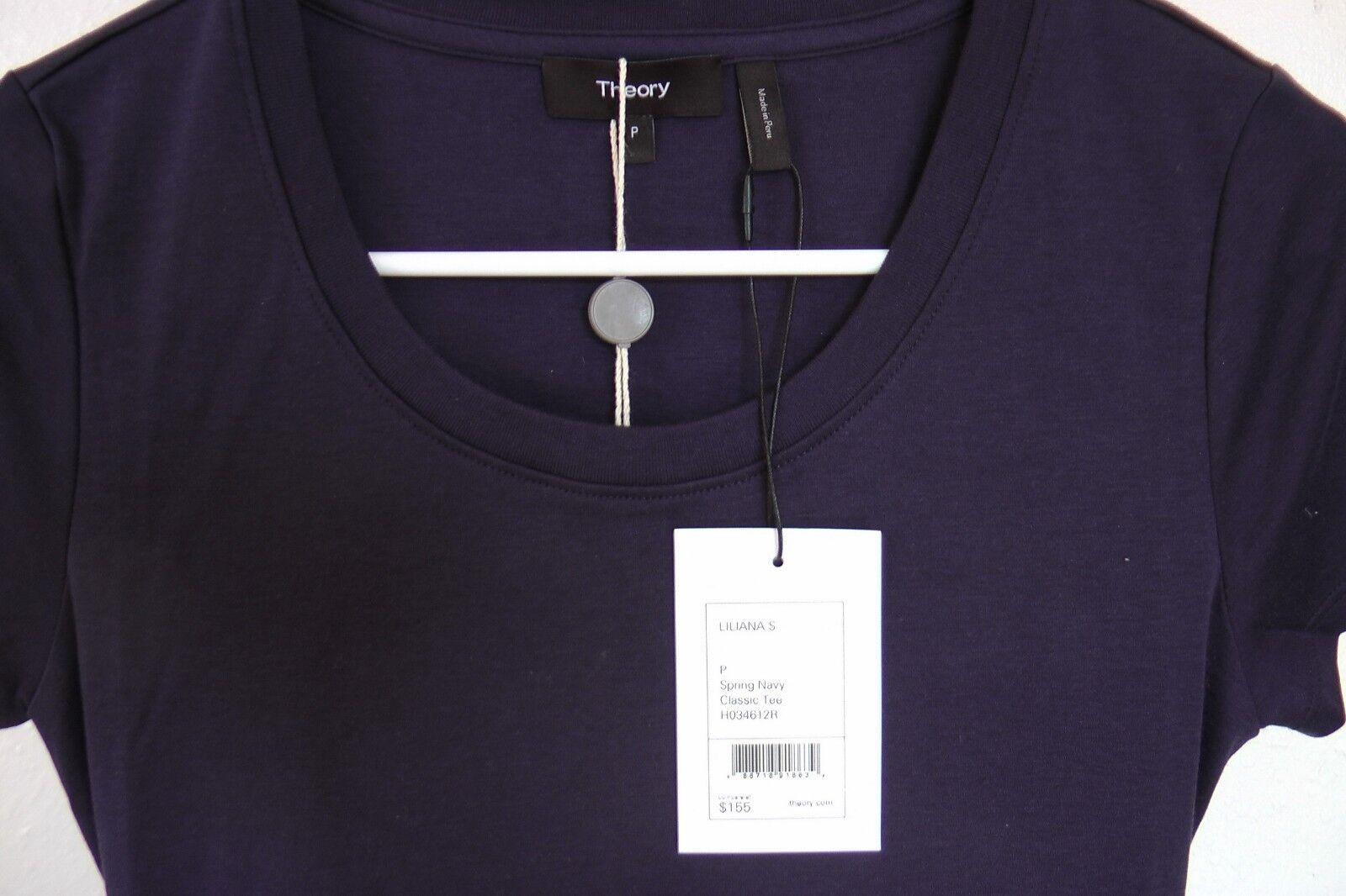 NWT THEORY Gathered Cutout Cutout Cutout Cotton-jersey Mini Dress, spring navy, P,  155 ee6281