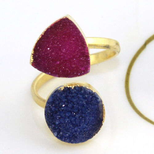Fancy Natural Agate Druzy 24k or GALVANISE réglable Ring fashion jewelry