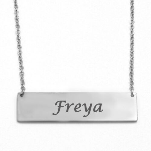 FREYA Name Bar Necklace Personalised Women Accessories Gift 18ct Gold Plated