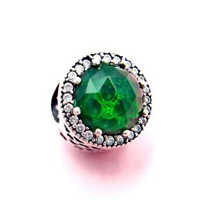 New-Authentic-Pandora-Silver-Radiant-Hearts-Sea-Green-Crystal-Charm-Bead-791725