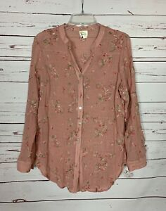 Fig-amp-Flower-Anthropologie-Women-039-s-L-Large-Pink-Floral-Button-Spring-Top-Blouse
