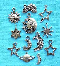 Celestial Charm Collection 12 Tibetan Silver Tone Charms FREE Shipping E13