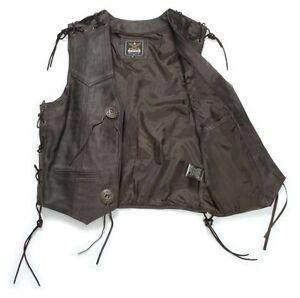 Cowl Marrone Gilet occidentale antico Biker in pelle pelle in Gilet Cowl cowboy SqEX00