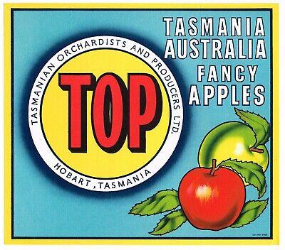 APPLE CRATE LABEL VINTAGE AUSTRALIA 1950 TASMANIA BRIGHT STAR VARIATION BLUE