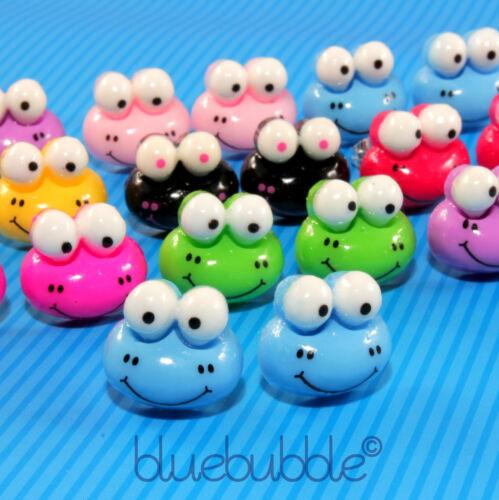 Funky Bug Eyed Rana Aretes Cute Kitsch Retro Con Dibujo Kawaii De Niñas Estilo Cartoon Animales
