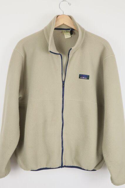 VTG L.L. Bean Mens Sz XL Tan Full Zip Fleece Pullover