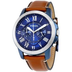0a93b8c48802 New Fossil FS5151 Mens Grant Chronograph Watch Blue dial on brown ...