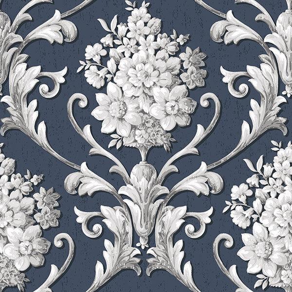 Cs35627 - klassisch Seiden 3 Blumenmuster blau grau weiß Galerie Tapete
