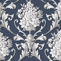Cs35627 - Classic Silks 3 Floral Blue Grey White Galerie Wallpaper