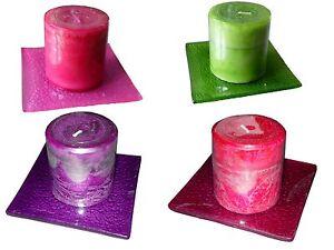 Duftkerze-mit-farblich-passendem-Glasuntersetzer-verschiedene-Farben-und-Duefte