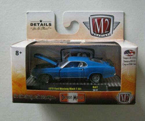 1970 Ford Mustang Mach I 351 Blue ** M2 Machines Detroit Muscle 1:64 NEU
