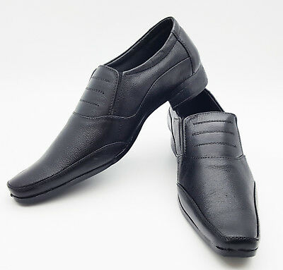Mens Smart Slip On Leather Look Casual Comfort Work Office Wedding Shoes Size UK