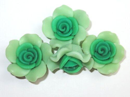25x14mm verde 4 unidades Resin resina flores cabuchons perlas #k214