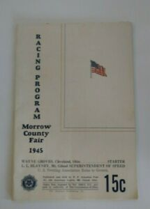 Vintage Horse Racing Program 1945 Morrow County Fair Ohio Local Advertising