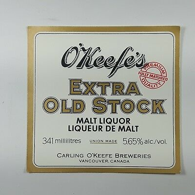 O'keefe's Extra Old Stock Beer Label Carling O'Keefe ...
