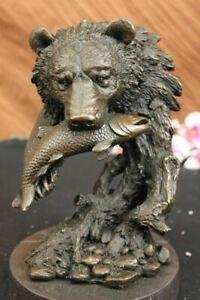 Grizzly-Bear-Salmon-Fishing-Alaska-Wildlife-Art-Bronze-Marble-Statue-Decorative