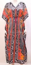 PLUS SIZE FUNKY BOHO HIPPIE FLORAL ABSTRACT GRID OMBRE LONG KAFTAN MULTI 24 26