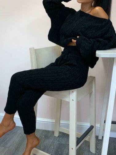 New Women Cable Knit Crop Top Lounge Wear Suit Ladies Co ord 2pcs Tracksuit Set