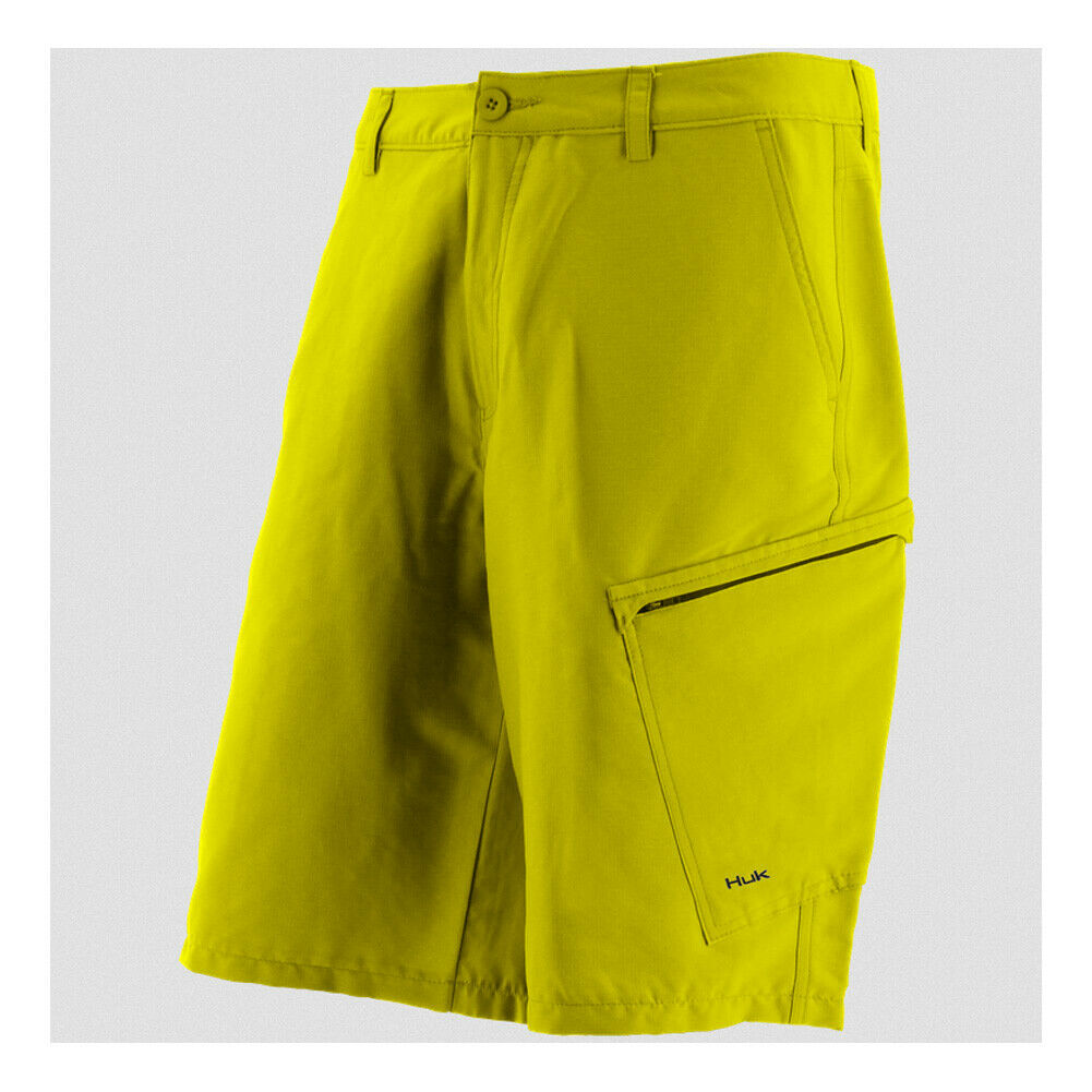 Huk Men's Hybrid Lite Short, color  Blaze Yellow H2000004byw   save 50%-75%off