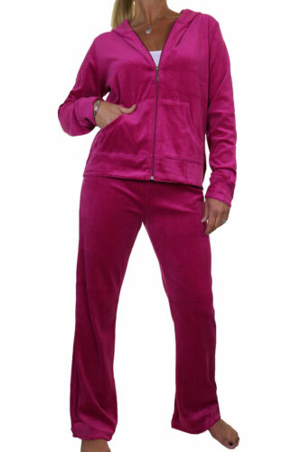 Curvy Figure Hooded Luxurious Velour Tracksuit Hot Pink NEW 10-20