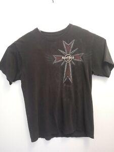 Hard-Rock-Cafe-Dublin-Vintage-black-graphic-T-Shirt-Size-Large-Guitars-Cross