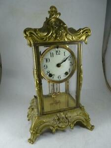 Antique-Ansonia-Zenith-Crystal-Shelf-Mantel-Clock-Victorian-1800s-Regulator-Vtg