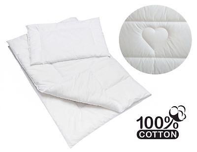 Quilted 2 Pezzi 100% Cotone Piumone & Cuscino Set Per Neonato Lettino Cuori-