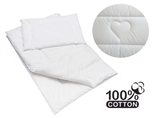 Quilted 2 piece 100/% Cotton Duvet /& Pillow set for baby Cot Hearts